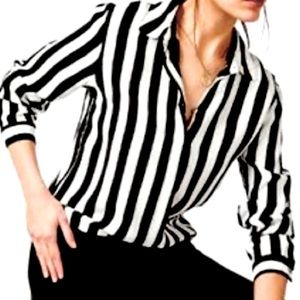 Striped Black and White Button Up Top